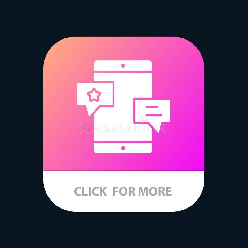 Chiacchierata, Comunità, media, rete, bottone mobile del App di promozione Android e versione di glifo dell'IOS illustrazione di stock