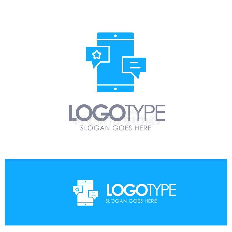 Chiacchierata, Comunità, media, rete, logo solido blu di promozione con il posto per il tagline illustrazione vettoriale