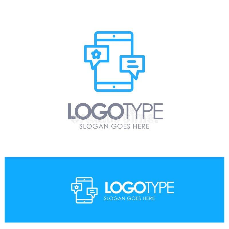 Chiacchierata, Comunità, media, rete, profilo blu Logo Place di promozione per il Tagline illustrazione vettoriale