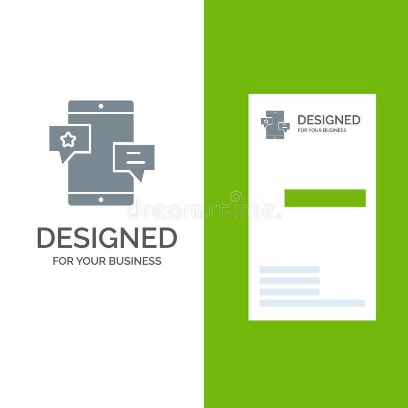 Chiacchierata, Comunità, media, rete, promozione Grey Logo Design e modello del biglietto da visita illustrazione di stock