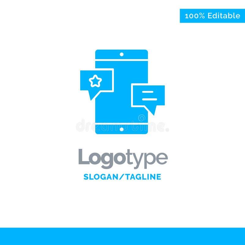 Chiacchierata, Comunità, media, rete, promozione Logo Template solido blu Posto per il Tagline illustrazione vettoriale