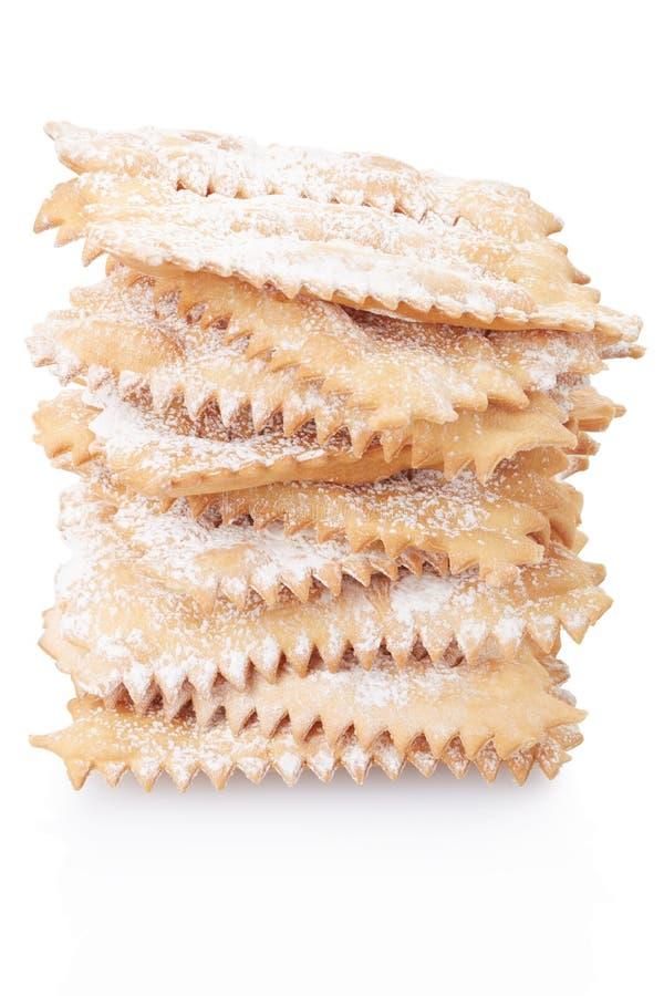 Chiacchiere, итальянская куча печенья масленицы стоковые изображения rf