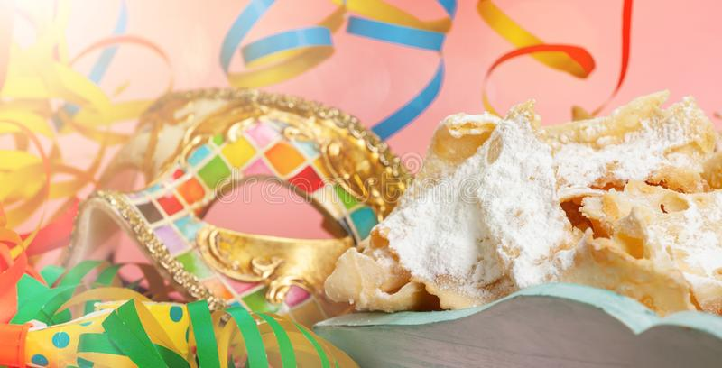 Chiacchiere or Cenci, typical Italian dessert for carnival royalty free stock photography
