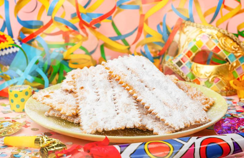Chiacchiere or Cenci, typical Italian dessert for carnival stock photos