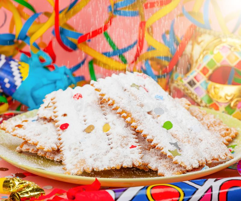 Chiacchiere or Cenci, typical Italian dessert for carnival stock photo