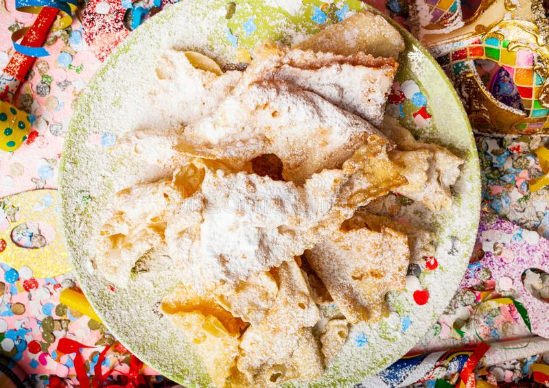 Chiacchiere or Cenci, typical Italian dessert for carnival stock photography
