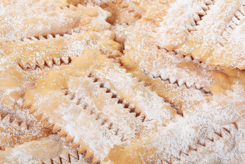 Chiacchiere, fond italien de pâtisserie de carnaval photographie stock