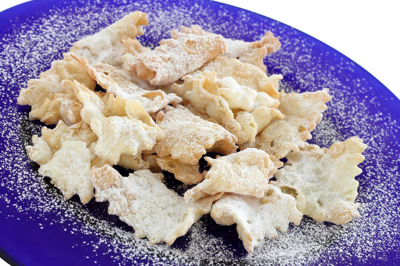 Chiacchiere (ou Bugie) - biscuits italiens de carnaval photos stock
