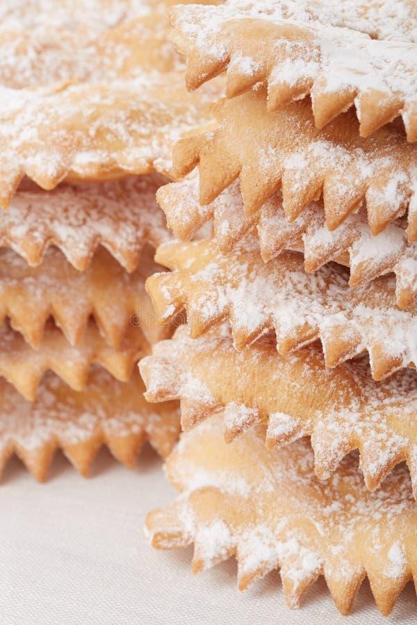 Chiacchiere, tas italien de pâtisserie de carnaval image libre de droits