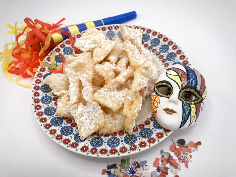 Chiacchiere, the traditional fried dough pastry to celebrate carnival in Italy stock photography