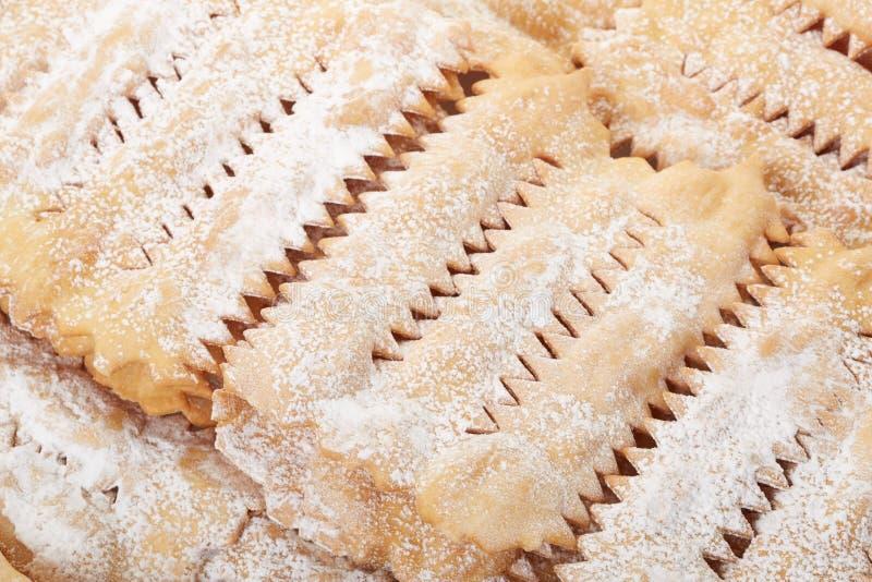 Chiacchiere, włoski ciasta tło zdjęcie royalty free