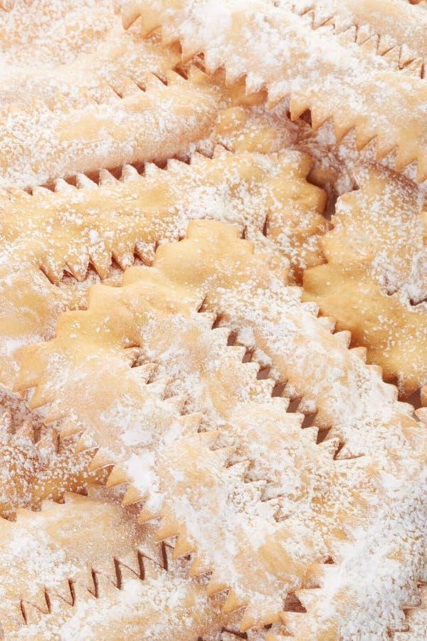 Chiacchiere, włoski Karnawałowy ciasta tło obrazy stock