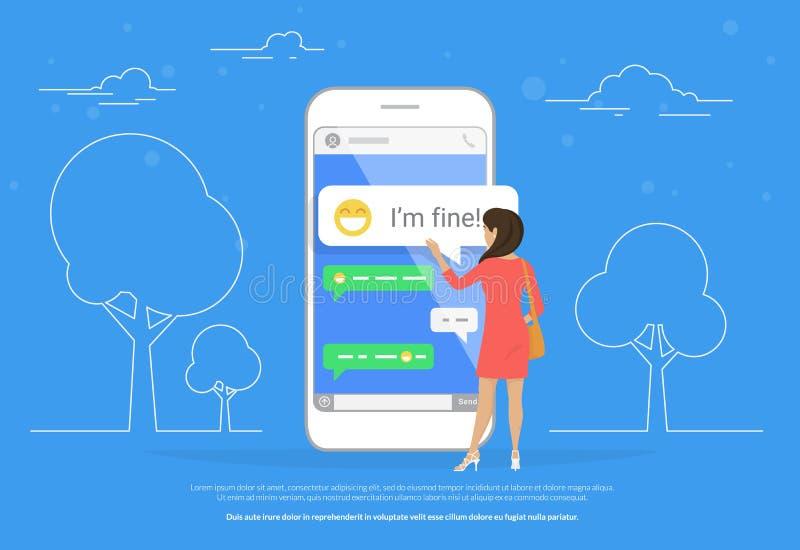 Chiacchieri l'illustrazione di concetto di conversazione della giovane donna che sta vicino al grande smartphone mobile royalty illustrazione gratis