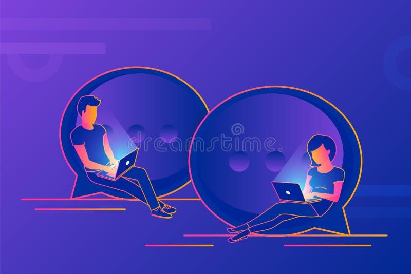 Chiacchieri l'illustrazione di concetto di conversazione dei giovani che per mezzo dei computer portatili per l'invio dei messagg illustrazione di stock