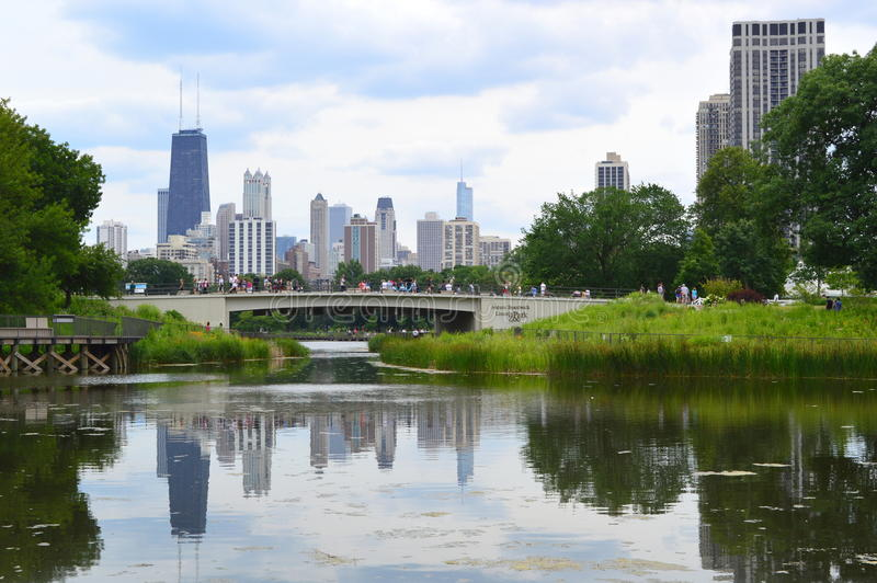 Chiago Cityscape from Lincoln Park royalty free stock photos