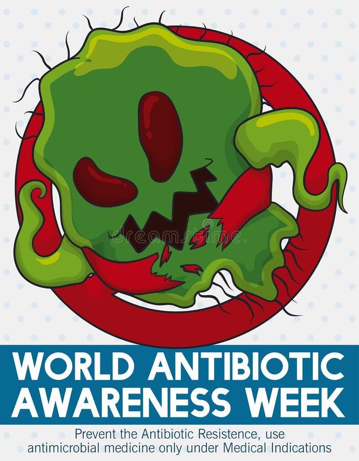 Chiamata ad azione contro resistenza dei batteri nella settimana antibiotica di consapevolezza, illustrazione di vettore illustrazione di stock