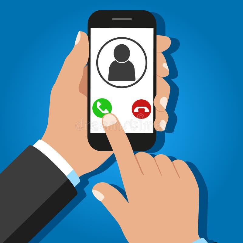 Chiamata in arrivo su smartphone Schermo tattile Vettore illustrazione vettoriale