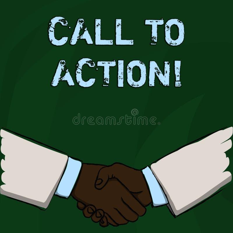 Chiamata del testo di scrittura di parola ad azione Concetto di affari per la maggior parte della parte importante di campagna di illustrazione di stock