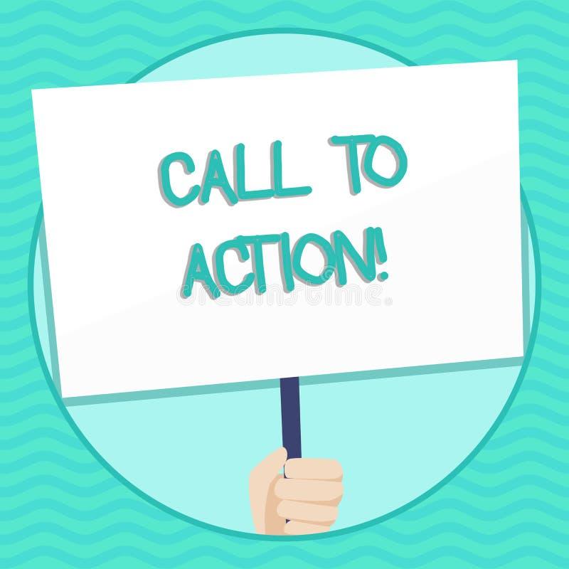 Chiamata del testo di scrittura di parola ad azione Concetto di affari per la maggior parte della parte importante di mano digita illustrazione di stock