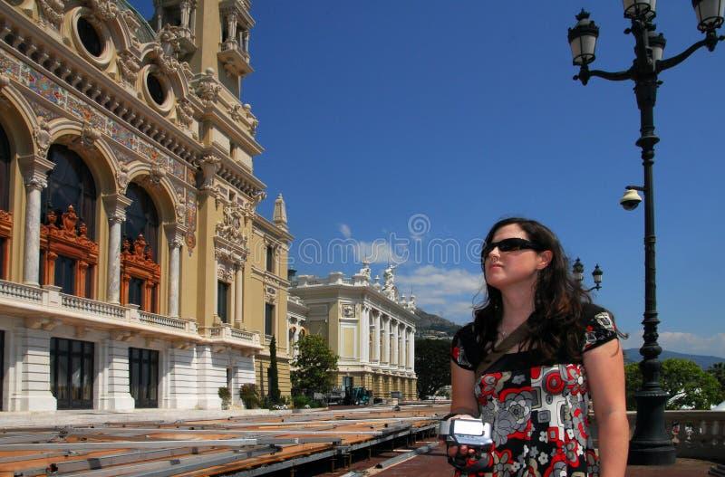 Chiamata della donna nel regno di Monte Carlo e della Monaco fotografia stock libera da diritti