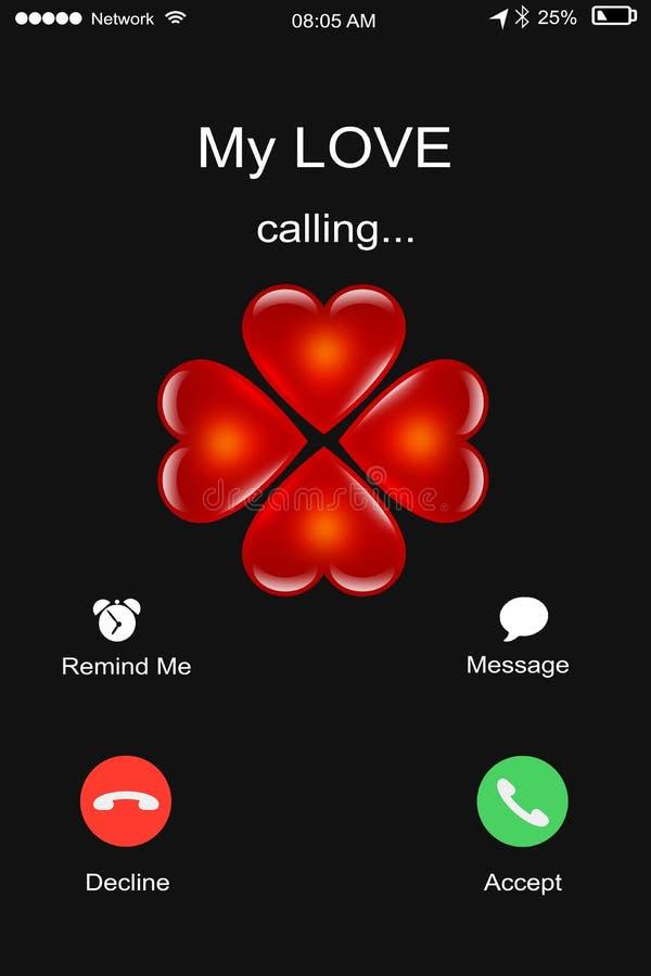 Chiamata il mio amore, maschio o femmina riceventi una chiamata dal suo gi illustrazione vettoriale
