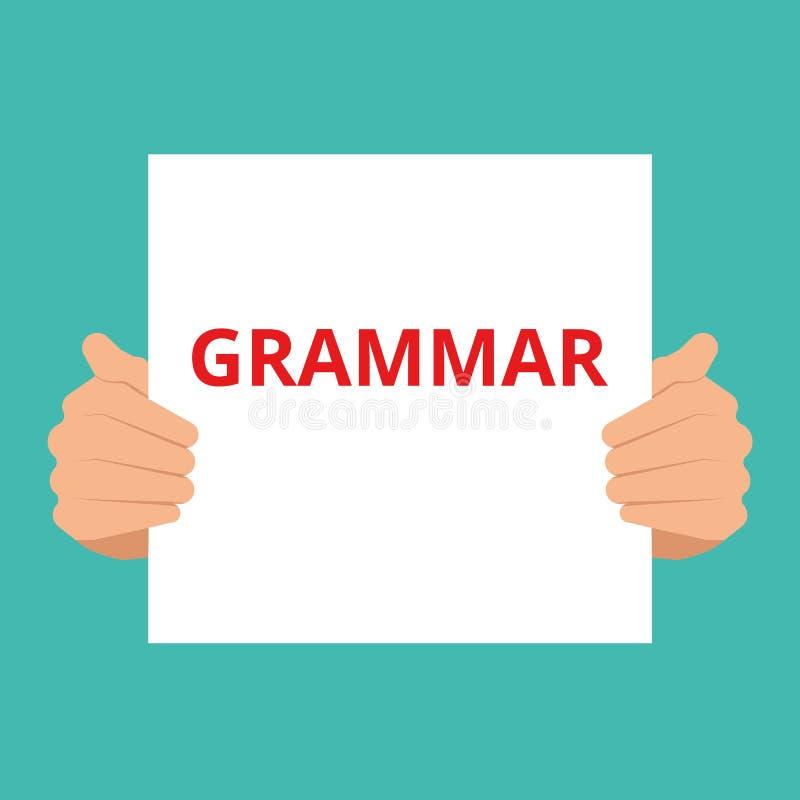 Chiamata motivazionale di grammatica del testo di scrittura di parola illustrazione di stock