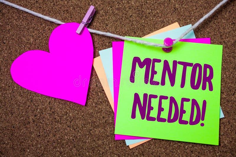Chiamata motivazionale necessaria del mentore del testo di scrittura di parola Il concetto di affari per addestramento di sostegn fotografie stock libere da diritti