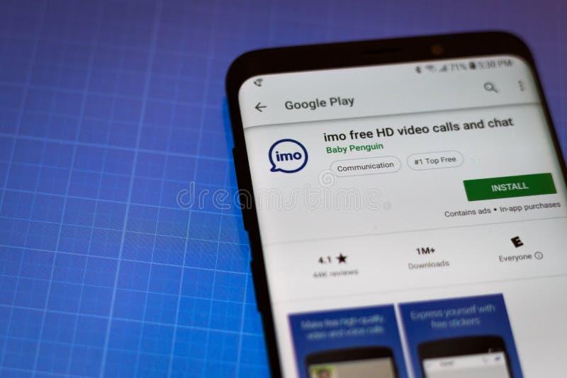 Chiamate del video di Imo HD e chiacchierata libere App sul telefono cellulare di Android fotografia stock libera da diritti