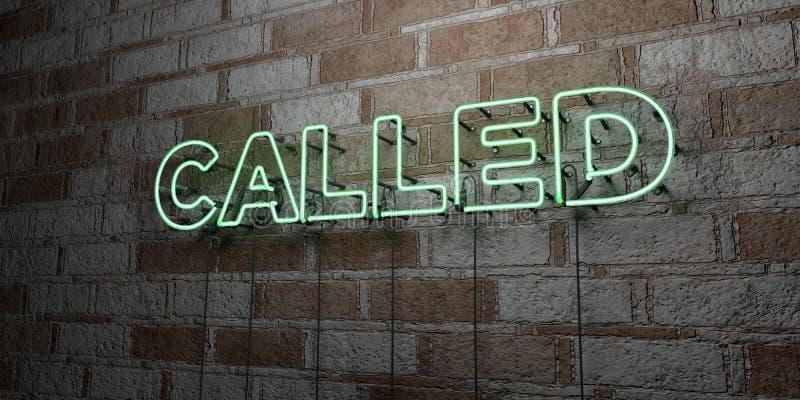 CHIAMATO - Insegna al neon d'ardore sulla parete del lavoro in pietra - 3D ha reso l'illustrazione di riserva libera della sovran illustrazione di stock