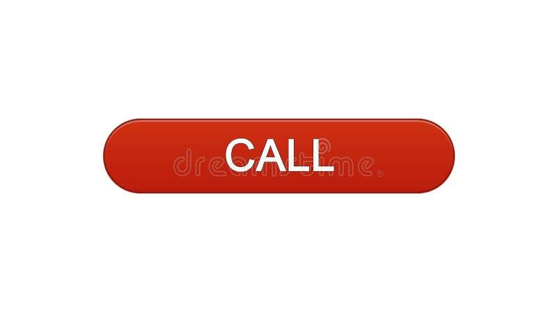 Chiami il rosso di vino del bottone dell'interfaccia di web, l'assistenza del consulente, supporto tecnico illustrazione di stock