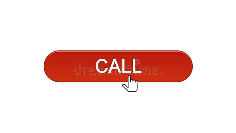 Chiami il vino cliccato bottone del cursore del topo dell'interfaccia di web colore rosso, supporto tecnico illustrazione di stock