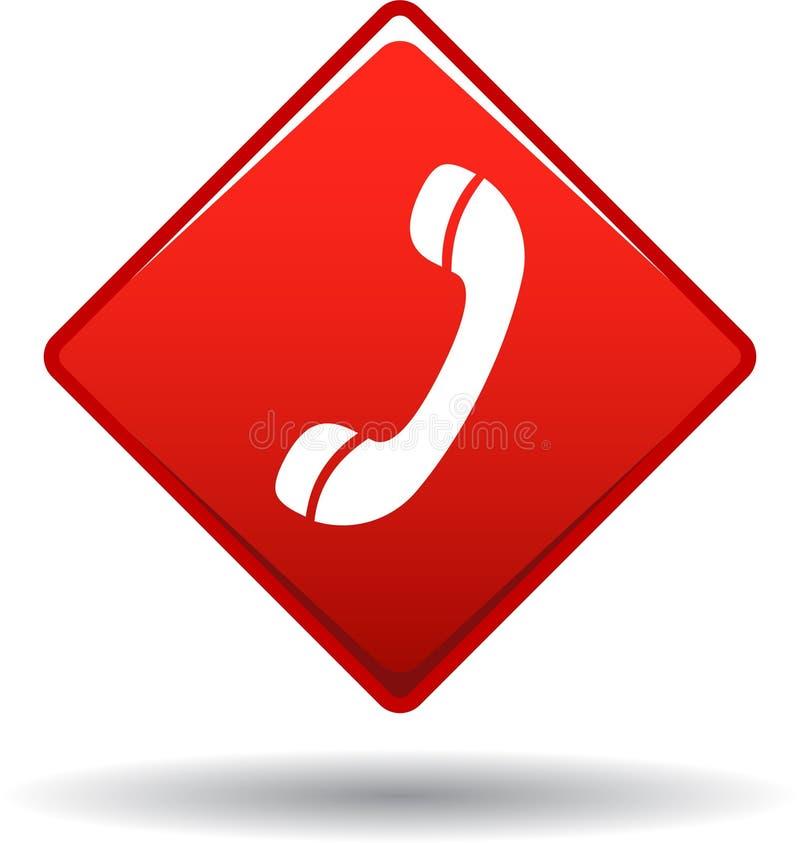 Chiamici rosso dell'icona di web del bottone illustrazione di stock