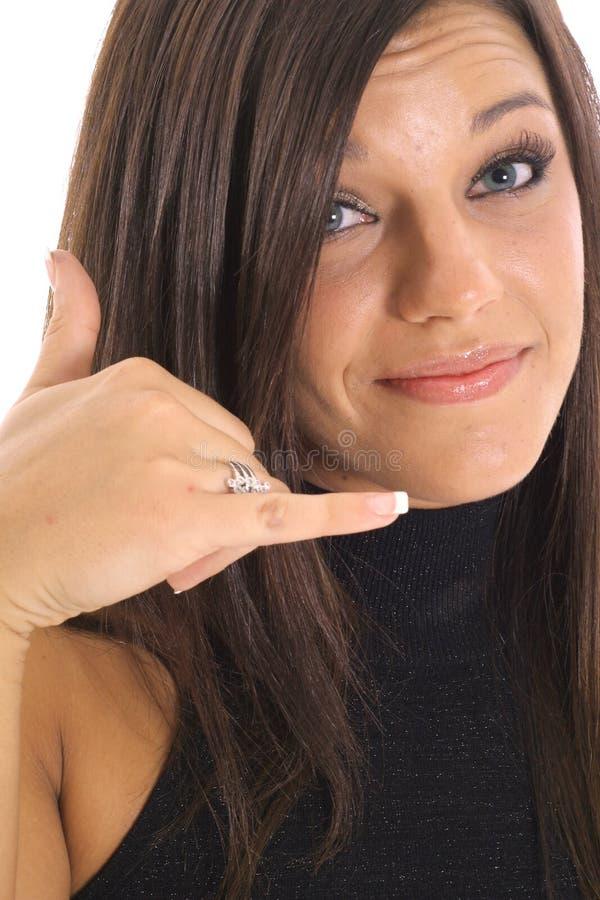 Chiamilo upclose femminile immagine stock