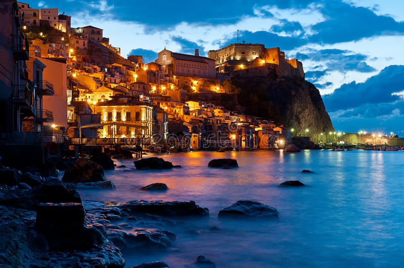 Chianalea by night. royalty free stock photography