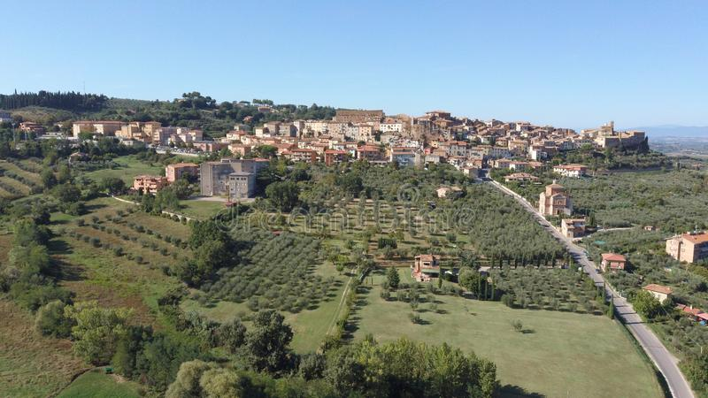 Chianciano terme tuscany italy drone panorama royalty free stock image