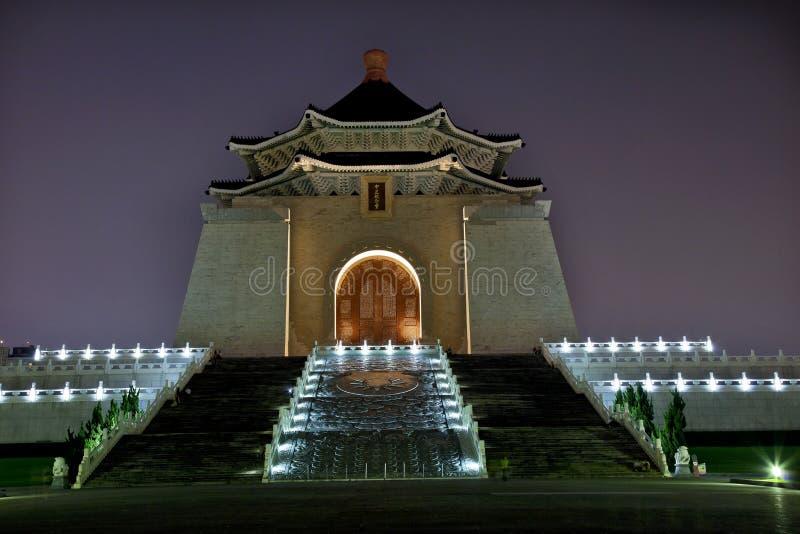 chiang大厅kai纪念晚上shek台北台湾 库存照片