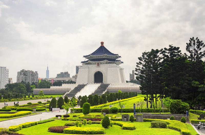 Taipei Chiang Kai-Shek Memorial Hall. The Chiang Kai-shek Memorial Hall in liberty square in Zhongzheng District of Taipei, Taiwan on an overcast summer day stock image