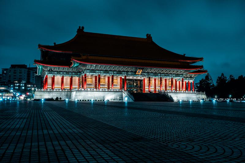 Chiang Kai-Shek Memorial Hall at night. Taipei, TaiwanThe beautiful National Concert Hall in Liberty Square at night. Taipei, Taiw royalty free stock image