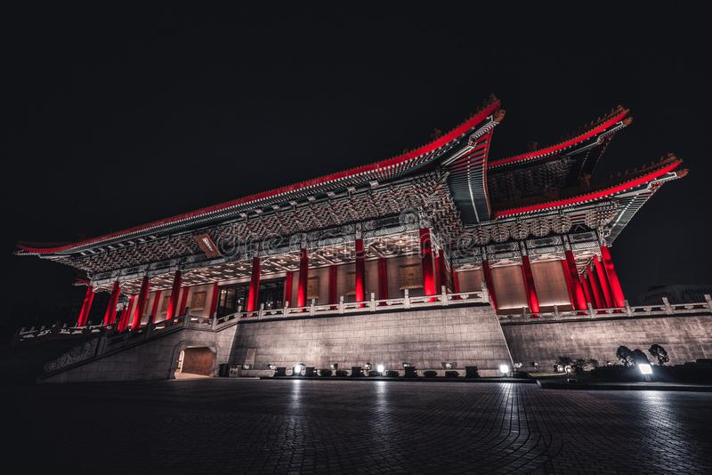 Chiang Kai-Shek Memorial Hall at night. Taipei, TaiwanThe beautiful National Concert Hall in Liberty Square at night. Taipei, Taiw royalty free stock photo