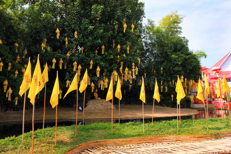 Chiang Mai buddhist temples - Wat Phan Tao and its monks, Thailand stock photos