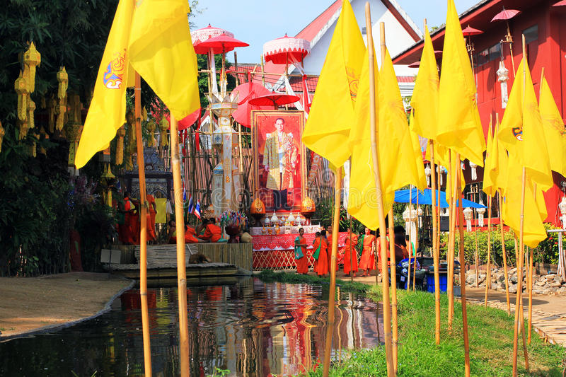 Chiang Mai buddhist temples - Wat Phan Tao and its monks, Thailand royalty free stock images