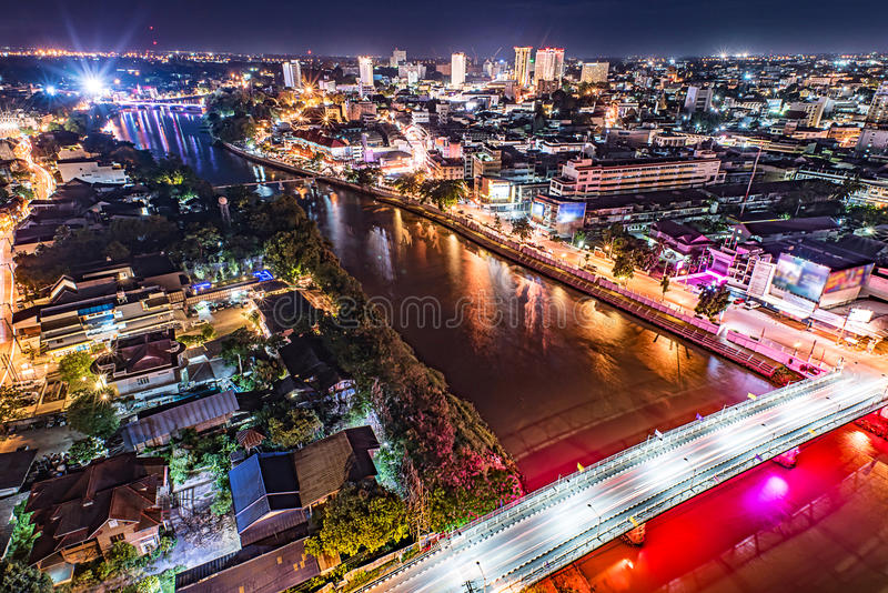 Chiang mai downtown cityscape. Chiang mai downtown cityscape night view, Thailand stock photos