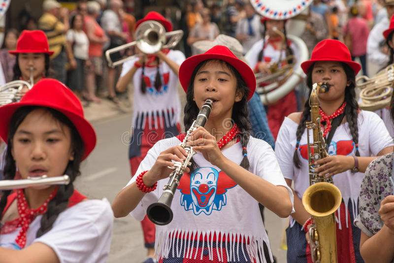 Chiang Mai Flower Festival. CHIANG MAI,THAILAND-FEB.2 : 37th Anniversary Chiang Mai Flower Festival, Unidentified marching Band in parade annual Chiang Mai royalty free stock photos