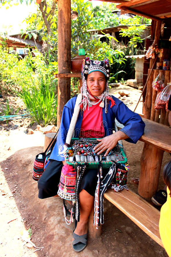 Chiang Mai hill tribe. An Akha tribal woman selling tribal accessories stock photos
