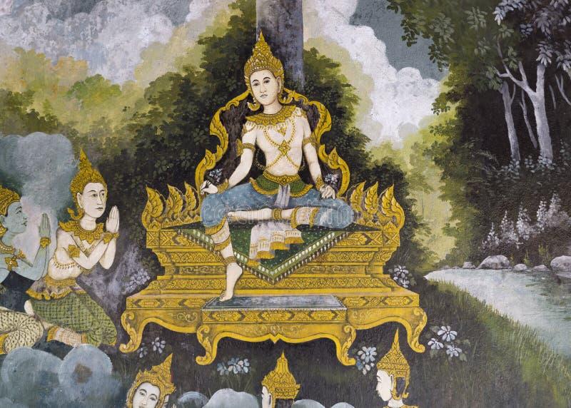Chiang Mai, TAILÂNDIA - 20 de setembro: Dor mural tailandesa tradicional foto de stock