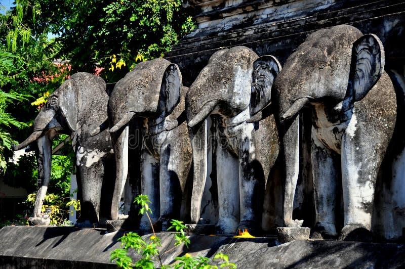Chiang Mai, TH: Elefant-Statuen auf thailändischem Tempel lizenzfreies stockfoto