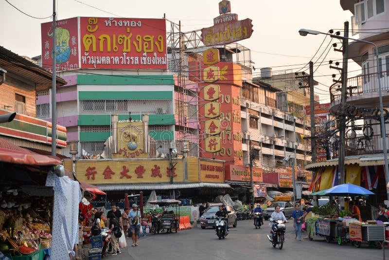 Chiang Mai, Tha?lande : Rue commerciale de ville images libres de droits