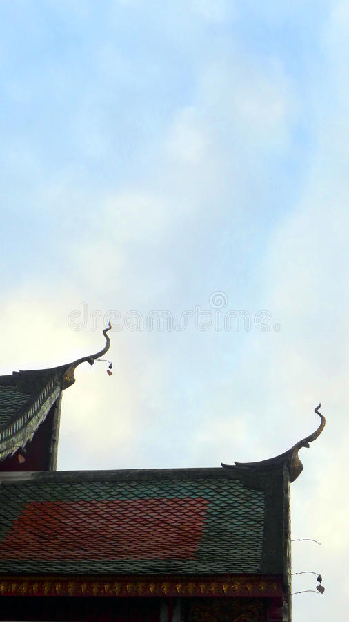 Chiang Mai Thai ancient temple roof detail royalty free stock photo