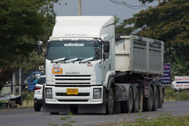 Trailer dump truck of Piboon Concrete. CHIANG MAI, THAILAND - APRIL 5 2018: Trailer dump truck of Piboon Concrete. On road no.1001, 8 km from Chiangmai city stock photos