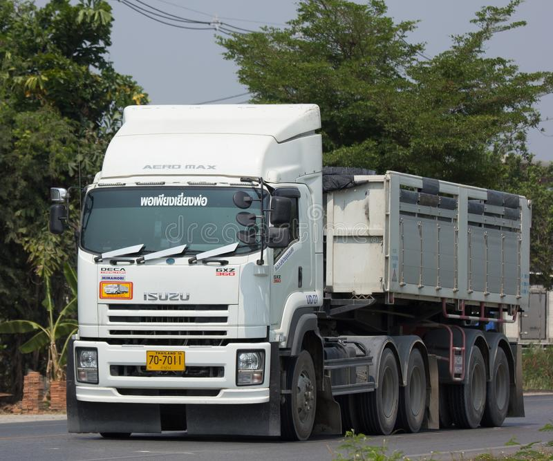 Trailer dump truck of Piboon Concrete. CHIANG MAI, THAILAND - APRIL 5 2018: Trailer dump truck of Piboon Concrete. On road no.1001, 8 km from Chiangmai city stock photo